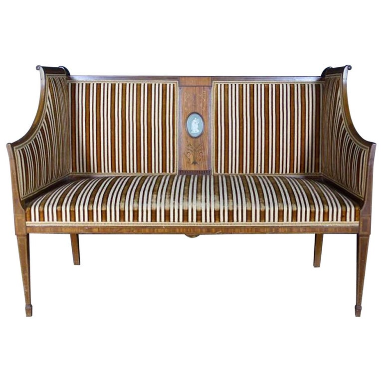 19th Century French Louis XVI Style and Wedgwood Medallion Sofa