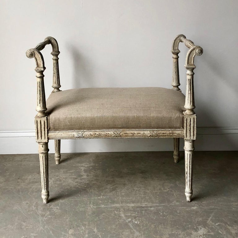 Hand-Carved 19th Century French Louis XVI Style Bench with Armrests