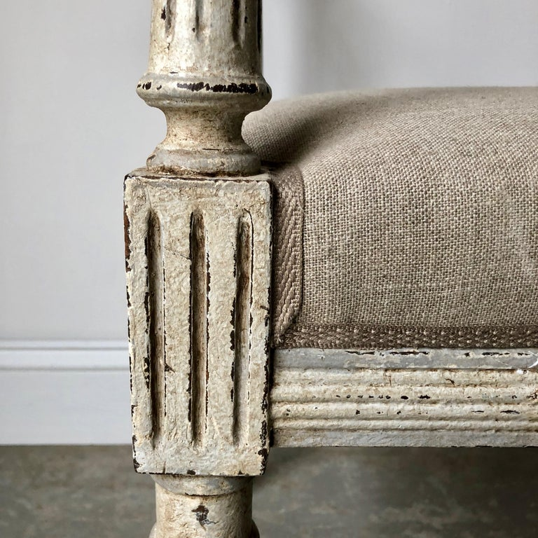 19th Century French Louis XVI Style Bench with Armrests 2