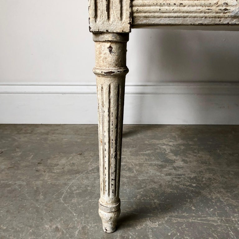 19th Century French Louis XVI Style Bench with Armrests 4