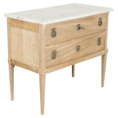 19th Century French Louis XVI Style Bleached Commode Sauteuse with Marble Top