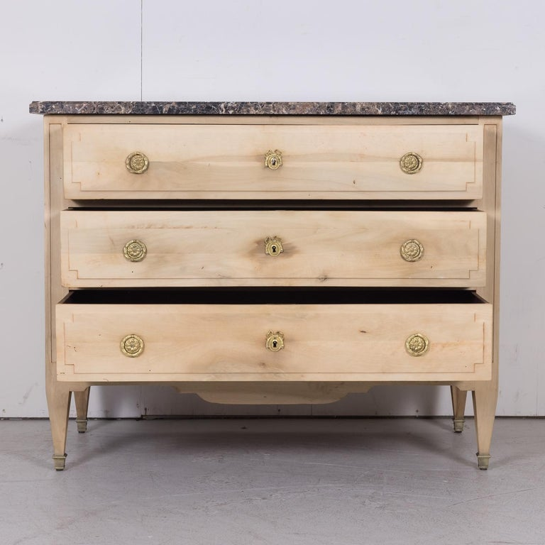 19th Century French Louis XVI Style Bleached Three-Drawer Commode with Marble To For Sale 6
