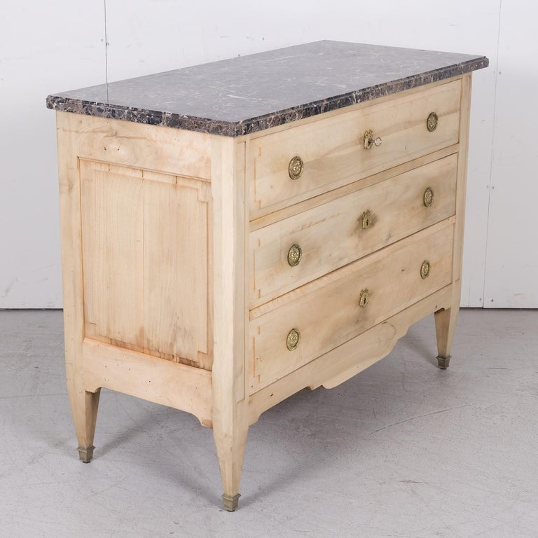 19th Century French Louis XVI Style Bleached Three-Drawer Commode with Marble To For Sale 9