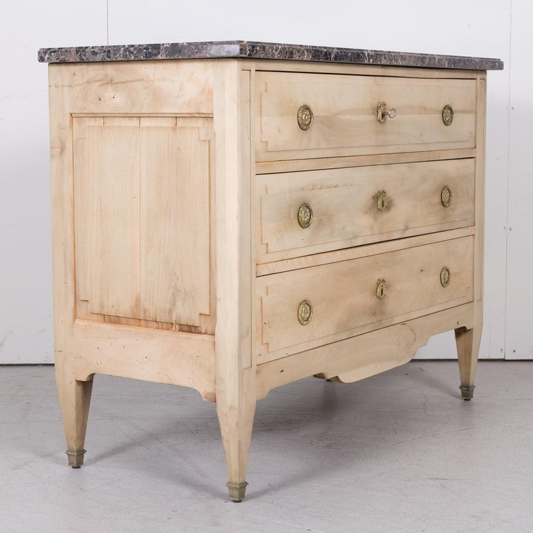 19th Century French Louis XVI Style Bleached Three-Drawer Commode with Marble To For Sale 10