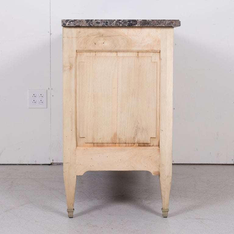 19th Century French Louis XVI Style Bleached Three-Drawer Commode with Marble To For Sale 14