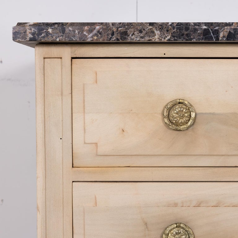 19th Century French Louis XVI Style Bleached Three-Drawer Commode with Marble To For Sale 1