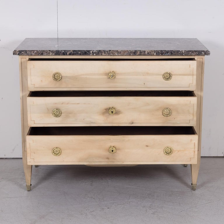 19th Century French Louis XVI Style Bleached Three-Drawer Commode with Marble To For Sale 5