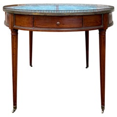 19th Century French Louis XVI Style Bouillotte Table, Marble Top, Gallery