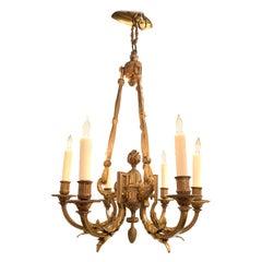 19th Century French Louis XVI Style Bronze 6-Light Chandelier