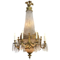 19th Century French Louis XVI Style Bronze and Crystal Chandelier