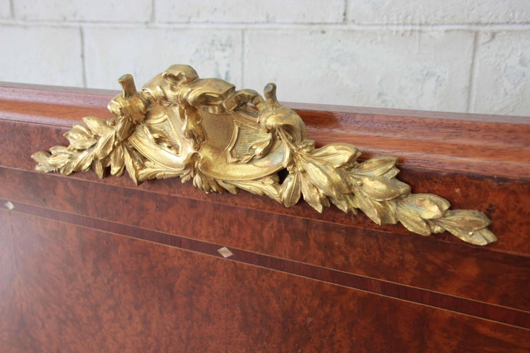 19th Century French Louis XVI Style Burl Wood Inlaid Mahogany Full Size Bed For Sale 7