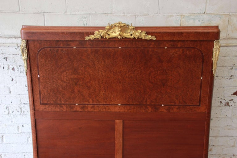 19th Century French Louis XVI Style Burl Wood Inlaid Mahogany Full Size Bed For Sale 3