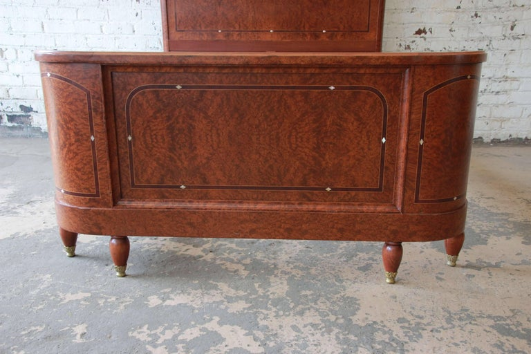 19th Century French Louis XVI Style Burl Wood Inlaid Mahogany Full Size Bed For Sale 4