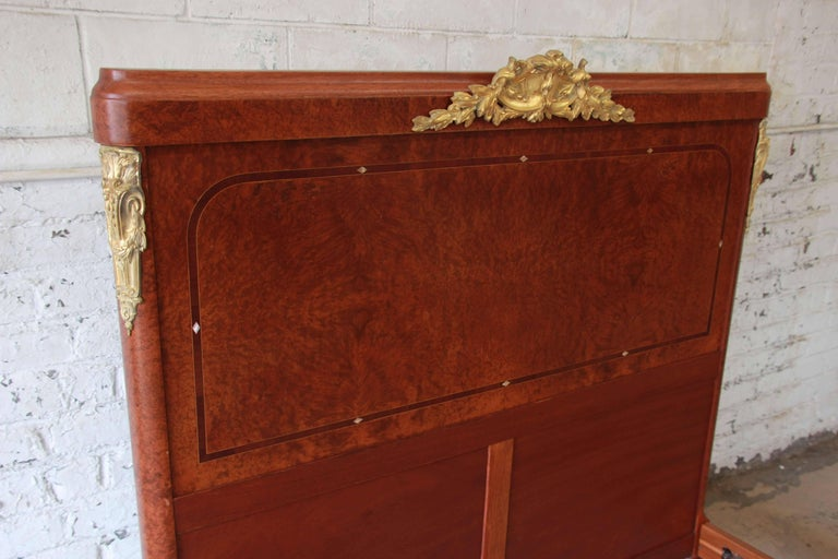 19th Century French Louis XVI Style Burl Wood Inlaid Mahogany Full Size Bed For Sale 5