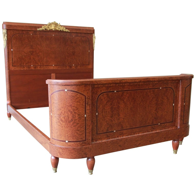 19th Century French Louis XVI Style Burl Wood Inlaid Mahogany Full Size Bed For Sale