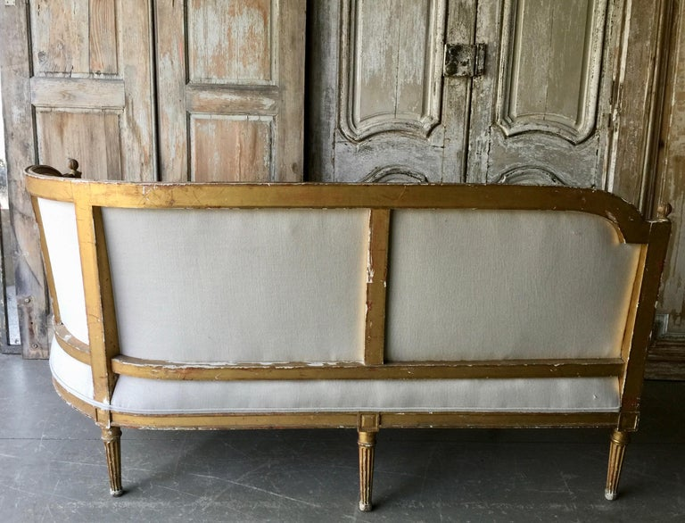 Hand-Carved 19th Century French Louis XVI Style Canapé For Sale