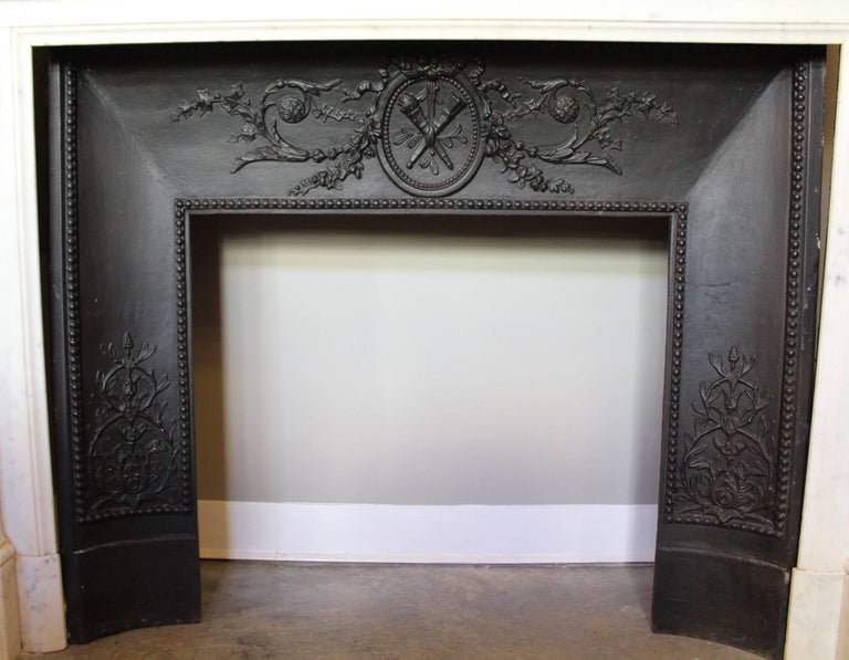 19th Century French Louis XVI Style Carrara Marble Mantel For Sale 10