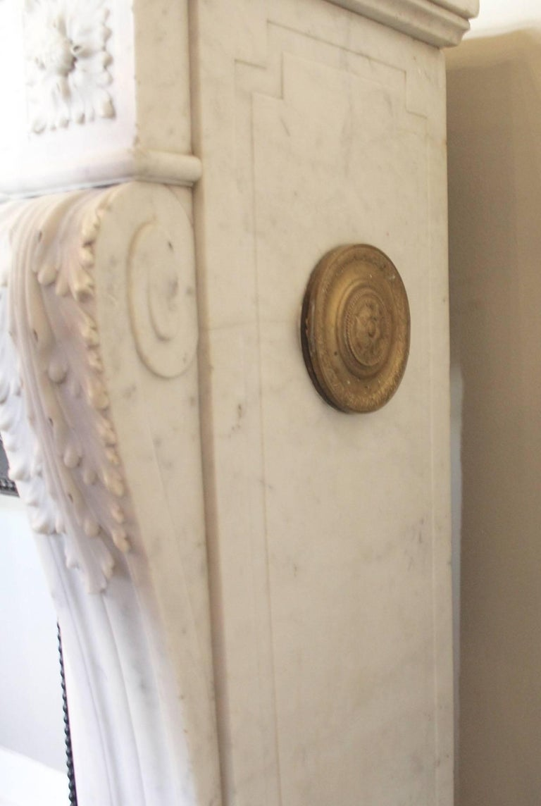 Hand-Carved 19th Century French Louis XVI Style Carrara Marble Mantel For Sale