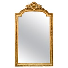 19th Century French Louis XVI Style Carved and Giltwood Mirror