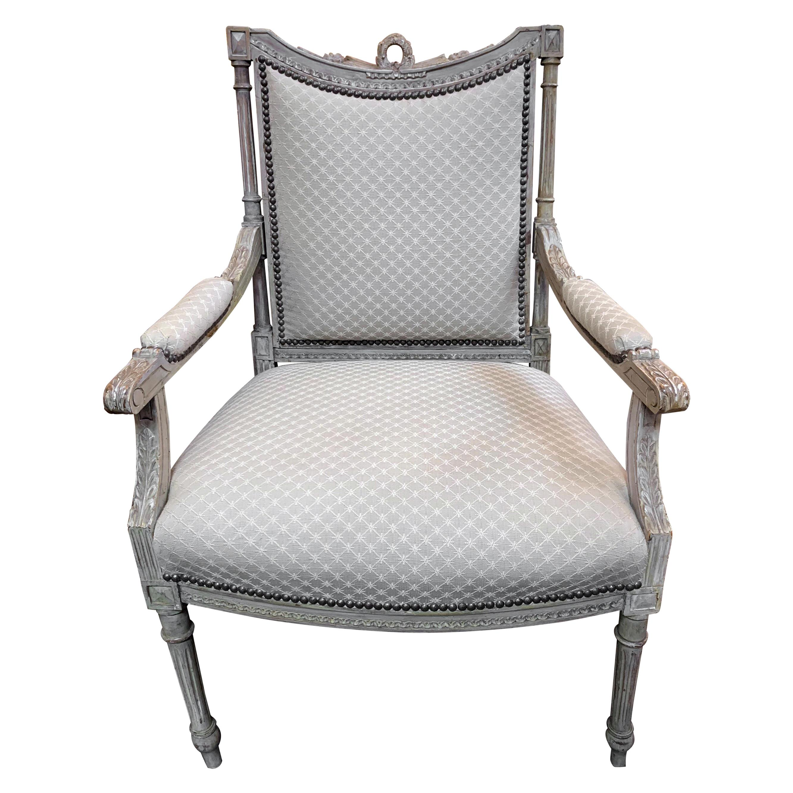 19th Century French Louis XVI Style Carved and Painted Armchair