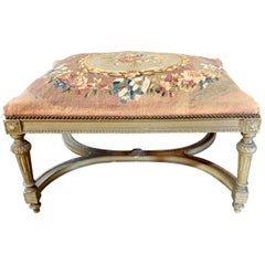 19th Century French Louis XVI Style Carved and Painted Ottoman