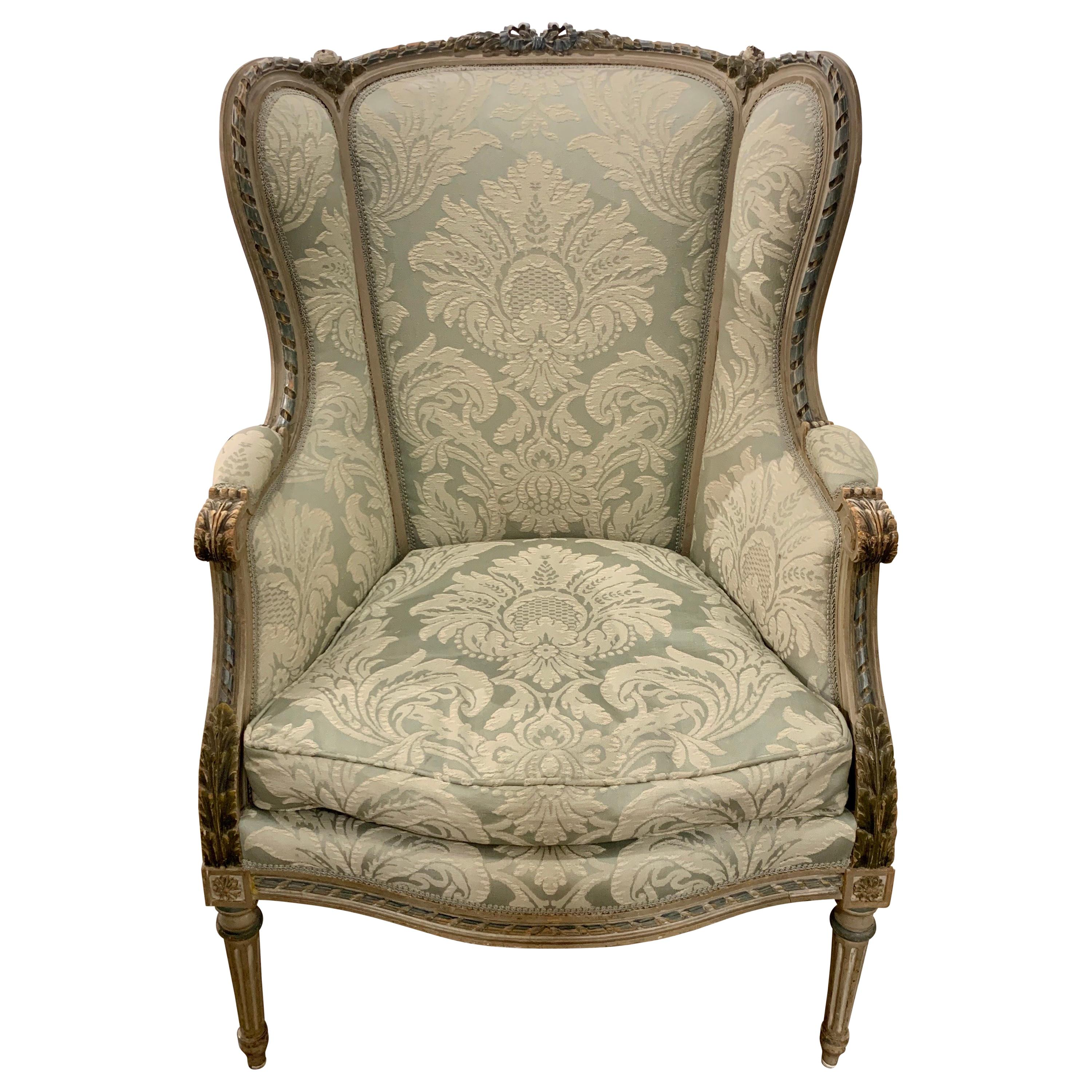 19th Century French Louis XVI Style Carved Bergère
