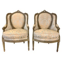 19th Century French Louis XVI Style Carved Bergeres