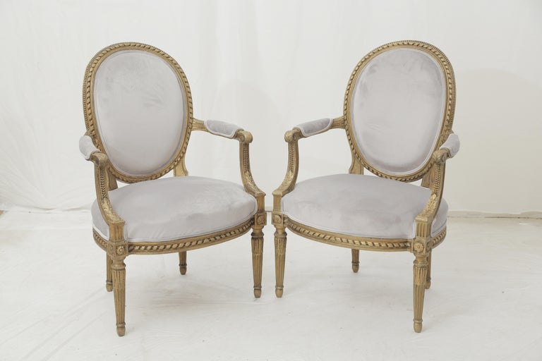 19th Century French Louis XVI Style Carved Giltwood & Pale Grey Suede Armchairs For Sale 8
