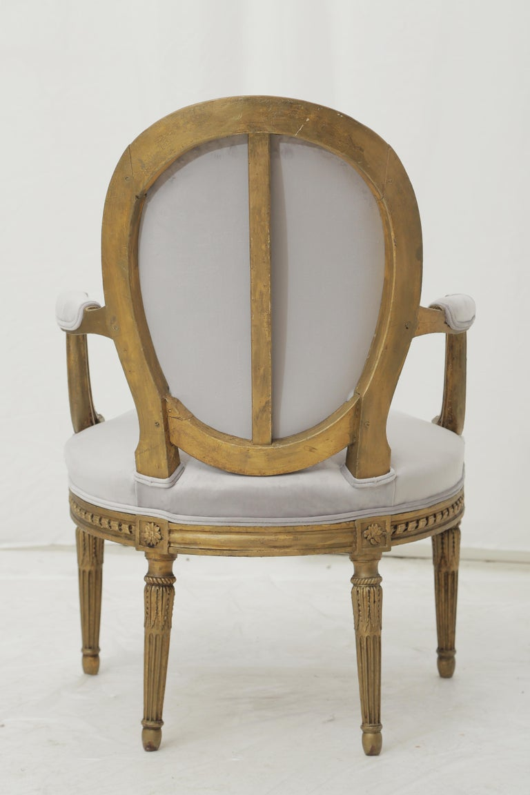 19th Century French Louis XVI Style Carved Giltwood & Pale Grey Suede Armchairs For Sale 3