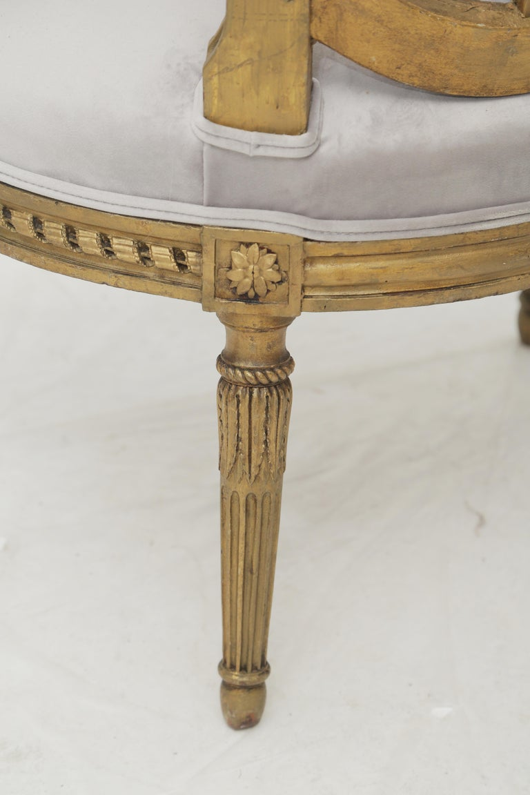 19th Century French Louis XVI Style Carved Giltwood & Pale Grey Suede Armchairs For Sale 4