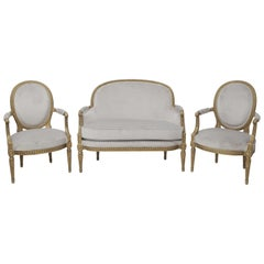 19th Century French Louis XVI Style Carved Giltwood and Pale Grey Seating Suite