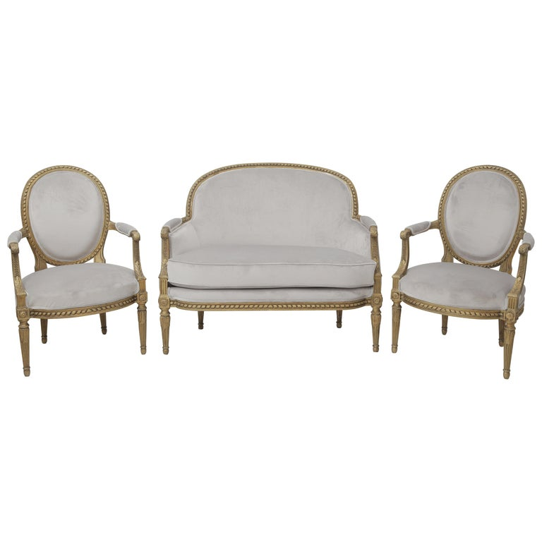 19th Century French Louis XVI Style Carved Giltwood and Pale Grey Seating Suite For Sale