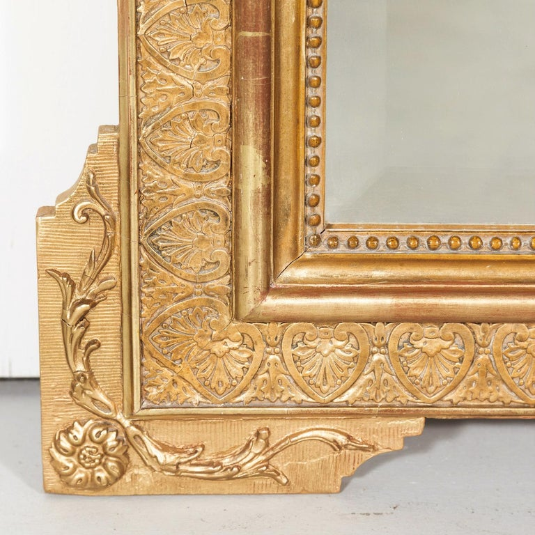 19th Century French Louis XVI Style Carved Giltwood Mirror For Sale 6