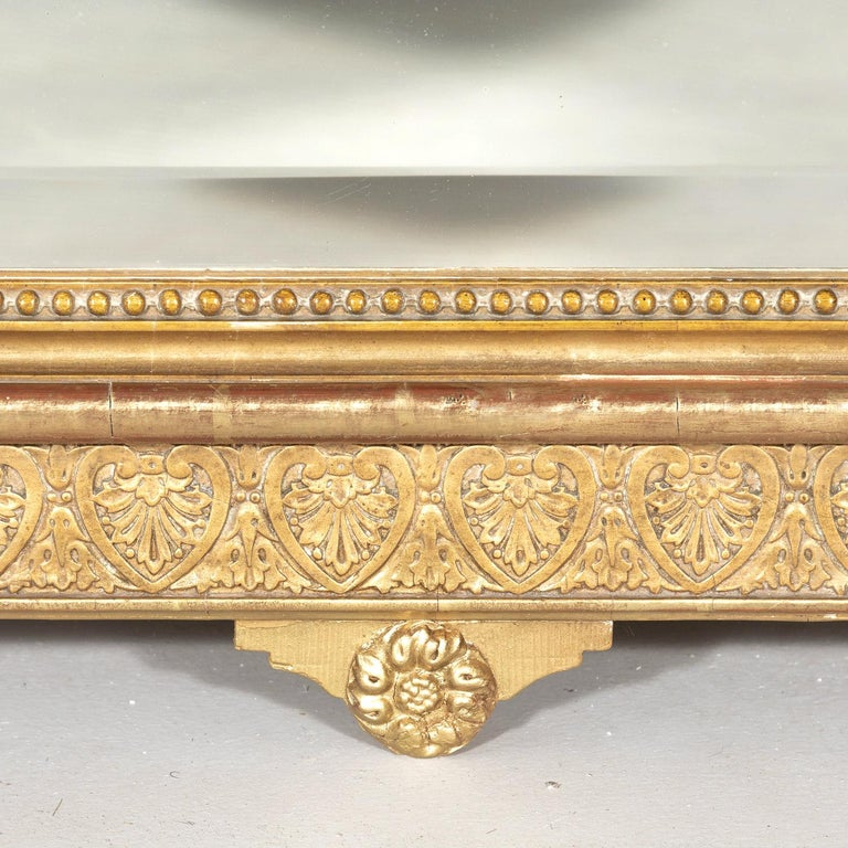19th Century French Louis XVI Style Carved Giltwood Mirror For Sale 7