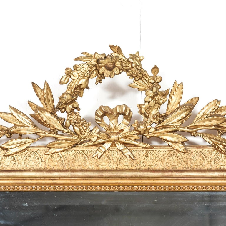 19th Century French Louis XVI Style Carved Giltwood Mirror In Good Condition For Sale In Birmingham, AL