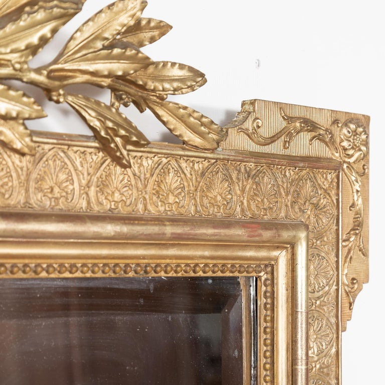 19th Century French Louis XVI Style Carved Giltwood Mirror For Sale 3