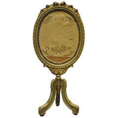 19th Century French Louis XVI Style Carved Giltwood Oval Fireplace Screen