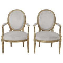19th Century French Louis XVI Style Carved Giltwood & Pale Grey Suede Armchairs
