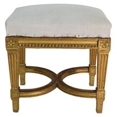 19th Century French Louis XVI Style Carved Stool or Tabouret
