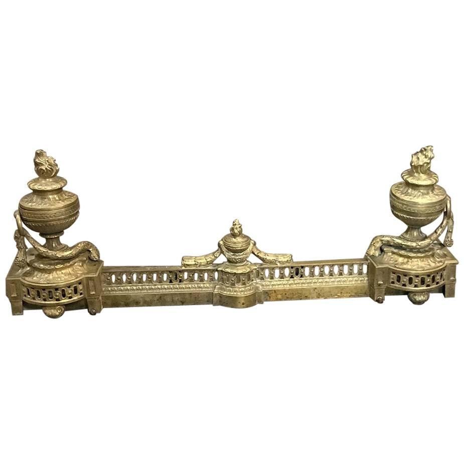 19th Century French Louis XVI Style Cast Bronze Chenets/Andiron, Fender Set