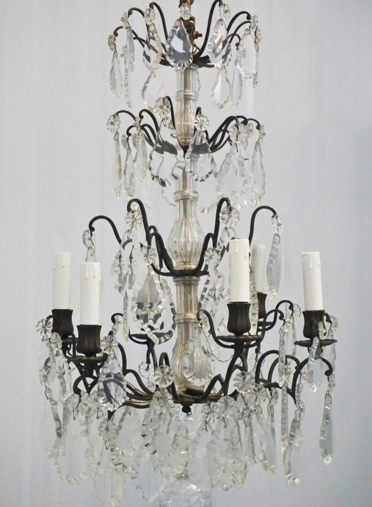 Louis XVI 19th Century French Rock Crystal and Bronze Six-Light Chandelier For Sale