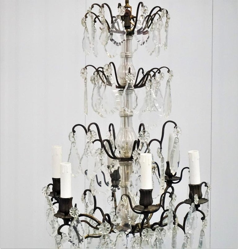 19th Century French Rock Crystal and Bronze Six-Light Chandelier In Good Condition For Sale In Frankfurt am Main, DE