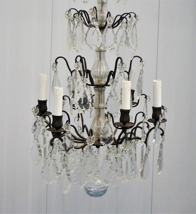Glass 19th Century French Rock Crystal and Bronze Six-Light Chandelier For Sale