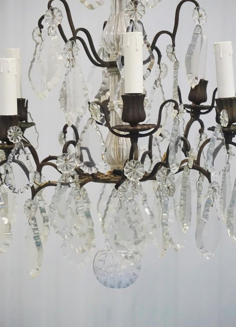 19th Century French Rock Crystal and Bronze Six-Light Chandelier For Sale 1