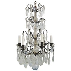 19th Century French Rock Crystal and Bronze Six-Light Chandelier