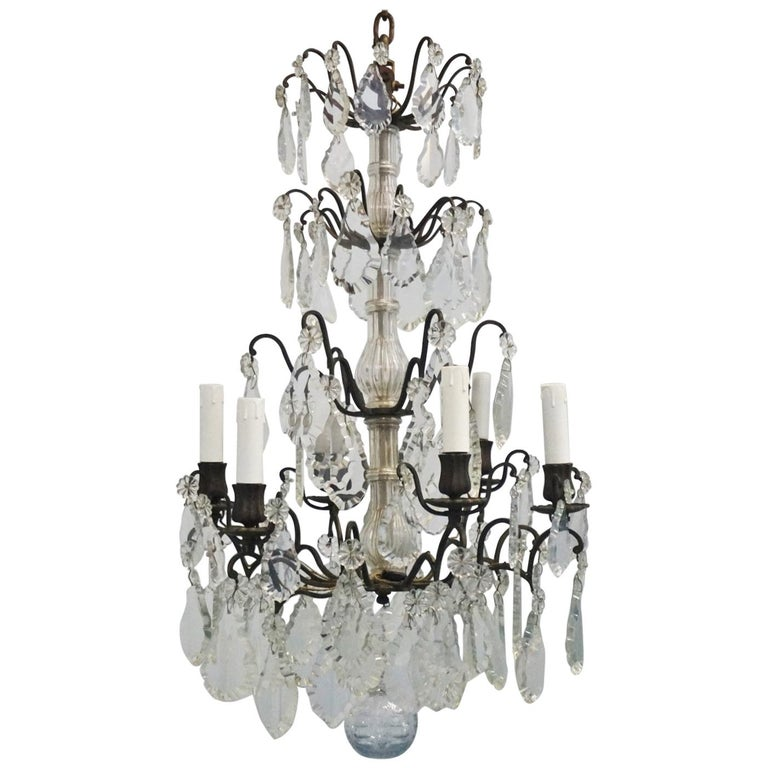 19th Century French Rock Crystal and Bronze Six-Light Chandelier For Sale
