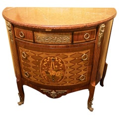 19th Century French Louis XVI Style Demilune Marble-Top Commode
