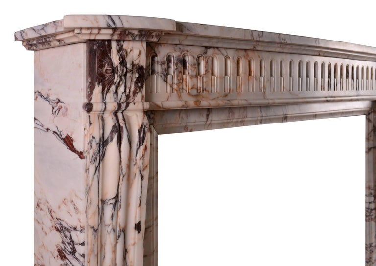 19th Century French Louis XVI Style Fireplace in Veined Marble For Sale 1