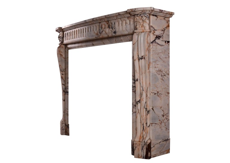 19th Century French Louis XVI Style Fireplace in Veined Marble For Sale 2