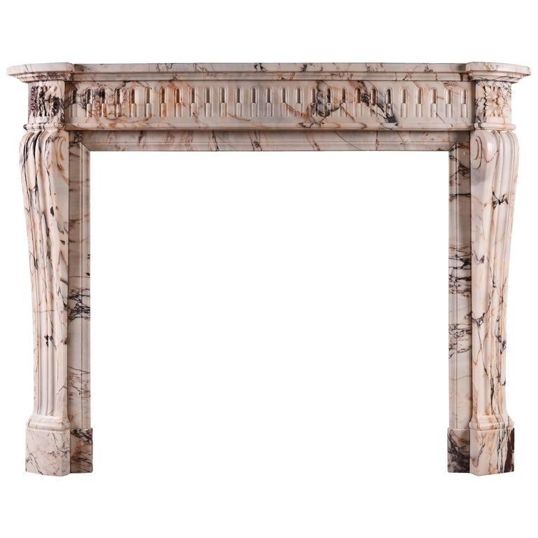 19th Century French Louis XVI Style Fireplace in Veined Marble For Sale